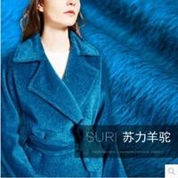 Lake blue double Suri alpacas cashmere fabric wool coat fabric double split 780grams per metre