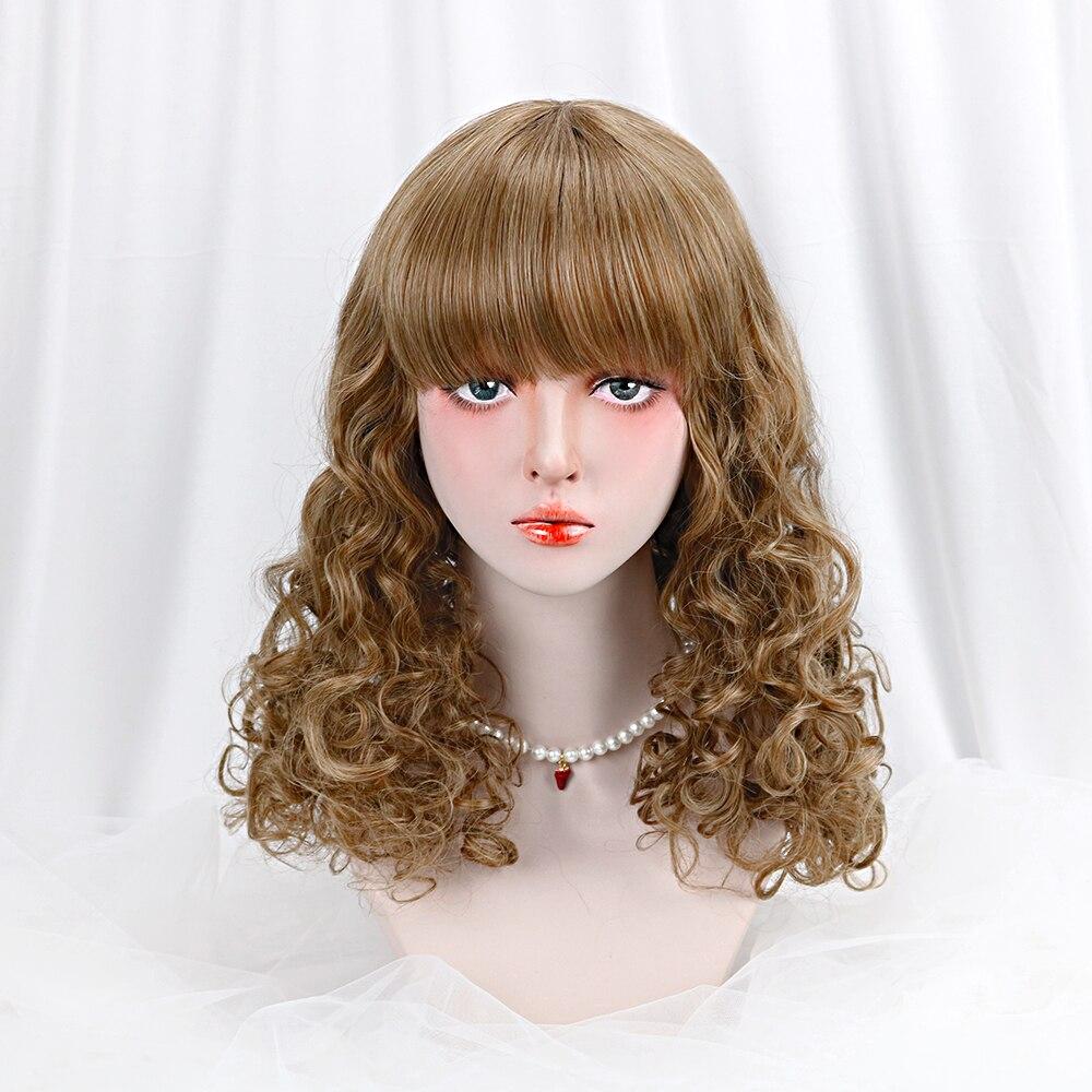 20''Synthetic Wavy Lolita Wig With Bangs Brown Long Hair Cosplay Harajuk Custom Lolita Wig For Women Girls Heat Resistant Friber