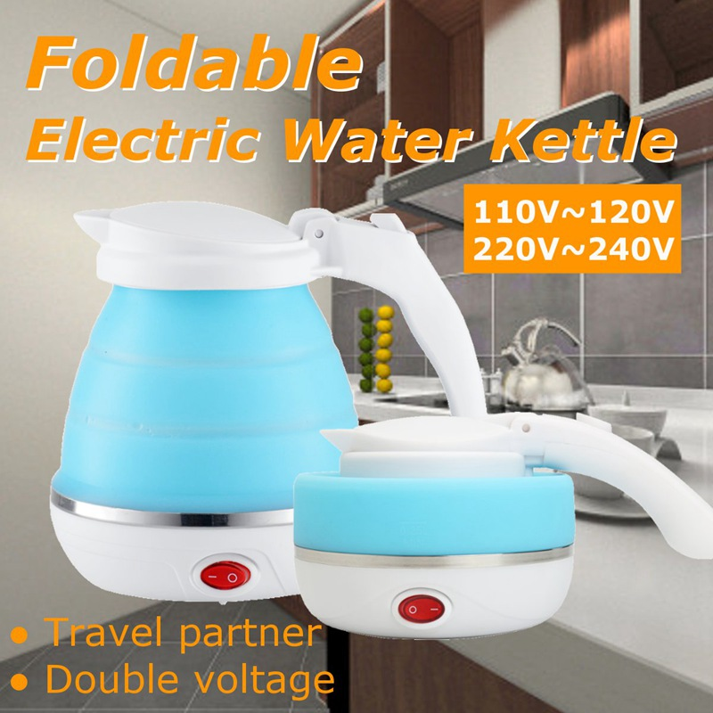 купить Portable Electric Kettle 680W Silicone Foldable Travel Camping Water Boiler Adjustable Voltage Home Electric Appliances