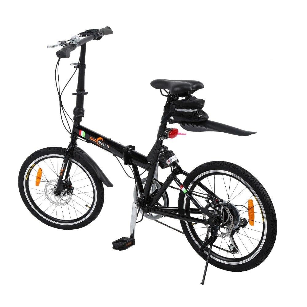 (Livraison à partir de L'UE) 6 vitesse pliage vélo pliable Vélo 20 pouces avec Cloche et led Batterie Lumière Grand sur 7 + Ans