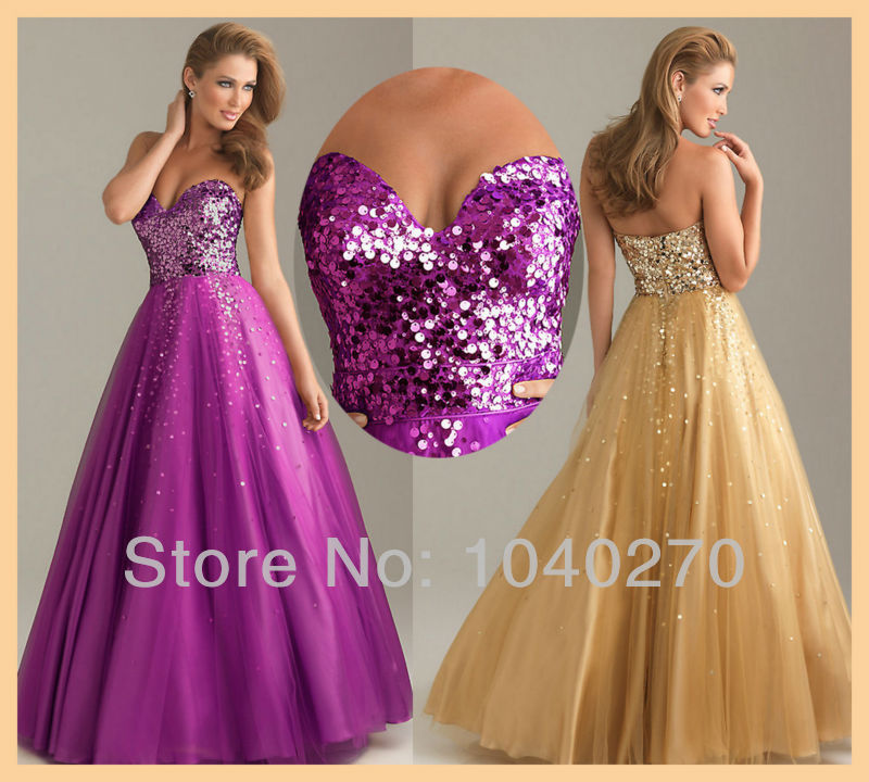 Hot Sexy Strapless Sweetheart Sequins Backless Tulle Gold Purple