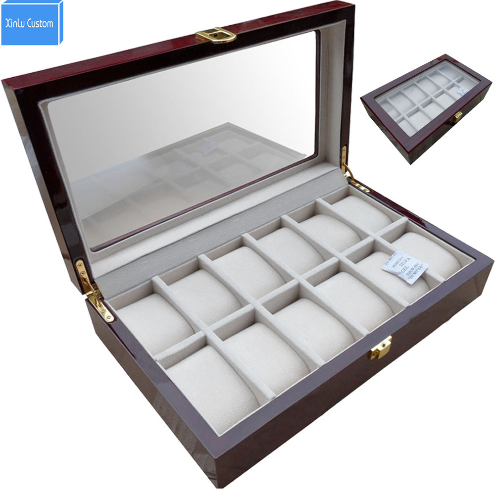 Luxury 12 Slots Wood Glossy Lacquer Watch Box Jewelry Collection Display Drop Shipping Supply, Box Watches Collect Tools watchcase storage luxury 22 slots 2 layer wood glossy lacquer watch box jewelry collection display drop shipping supply