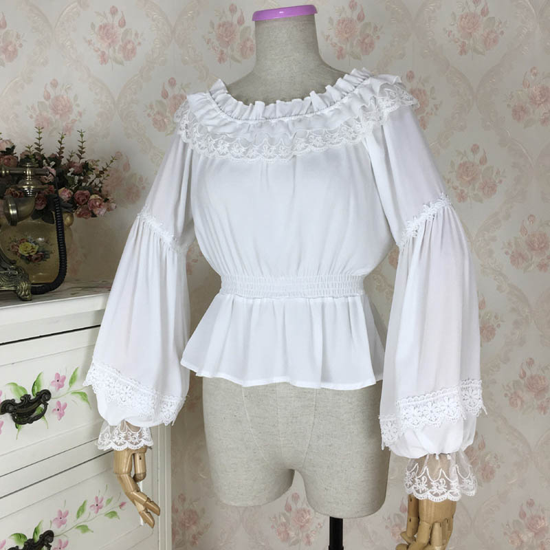 Lady New White/Black Sexy Sweet Lace Chiffon Blouse O-Neck Lantern Sleeve Causal Ruffle Shirts