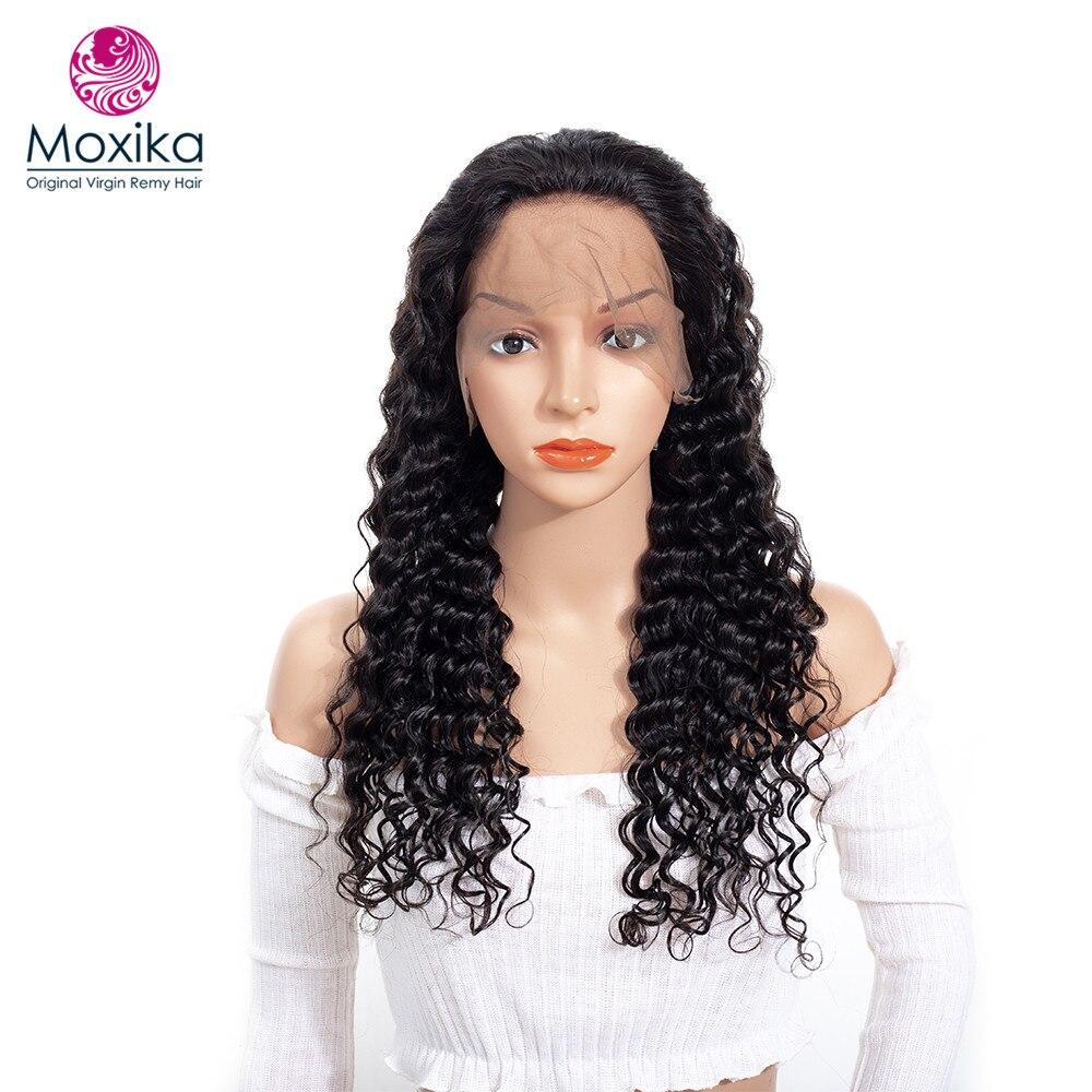 Moxika бразильский Virgin волос предварительно сорвал 150% плотность глубокая волна Синтетические волосы на кружеве человеческих волос парики с р