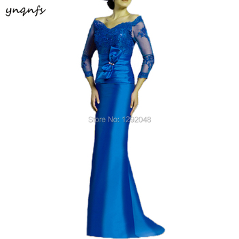 Satin Off Shoulder Beaded Lace Appliques Elegant Mermaid   Mother of the Bride Dresses Long Sleeves Royal Blue YNQNFS MD231