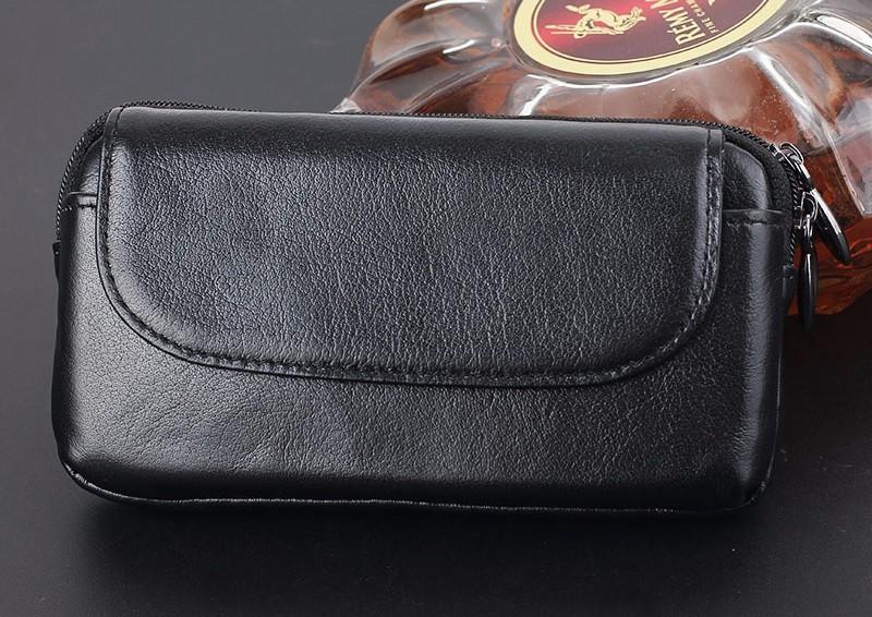 Black genuine leather belt clip pouch bag case (7)