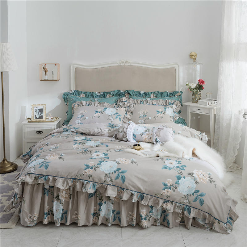 100%Cotton Ruffles Floral Print Duvet cover Bed set Soft Bedskit shees Luxury King Queen Twin size Bedding Set Pillow shams100%Cotton Ruffles Floral Print Duvet cover Bed set Soft Bedskit shees Luxury King Queen Twin size Bedding Set Pillow shams