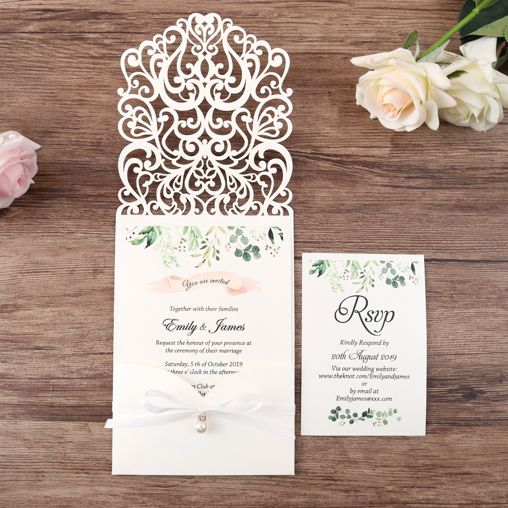100pcs White New Arrival Horizontal Laser Cut Wedding Invitations with pearl ribbon RSVP card Customizable
