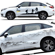 for Honda CR-V UR-V car stickers body decoration modification appearance Chinese painting ink