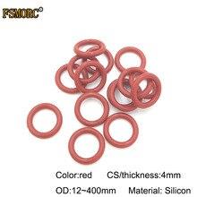 Красные силиконовые уплотнительные кольца OD12mm~ 400mm* 4mm толщина пищевого качества уплотнения без яда термостойкие уплотнительные прокладки