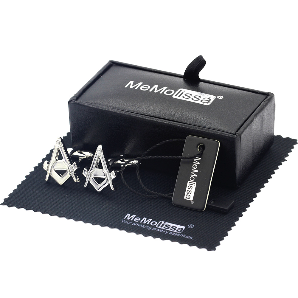 MeMolissa Display Box Cufflinks Classic Letter A Cufflinks Masonic Cufflinks Movement Cufflinks Abotoadura Free Tag & Wipe Cloth