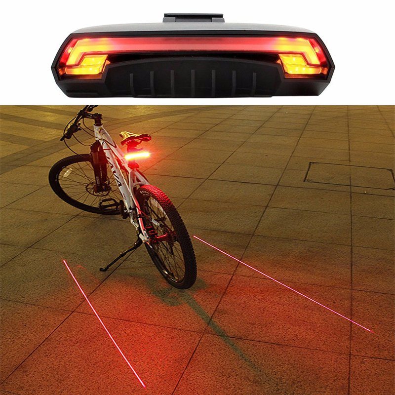 Bicycle Light Wireless Rear Remote Light Turn Signal Tail LED Light Laser Beam USB Chargeable Cycling