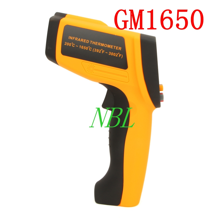 GM1650 Non-Contact 50:1 LCD Display Temperature Meter Gun IR Infrared Digital Thermometer 200~1650C (392~3002F) 0.1~1.00 gm1150 non contact 12 1 lcd display ir infrared digital temperature gun thermometer 50 1150c 58 2102f 0 1 1 00 adjustable