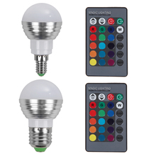 E27 E14 LED RGB Bulb lamp AC110V 220V 5W LED RGB Spot Light Dimmable Magic Holiday RGB lighting+IR Remote Control 16 Colors CA1T