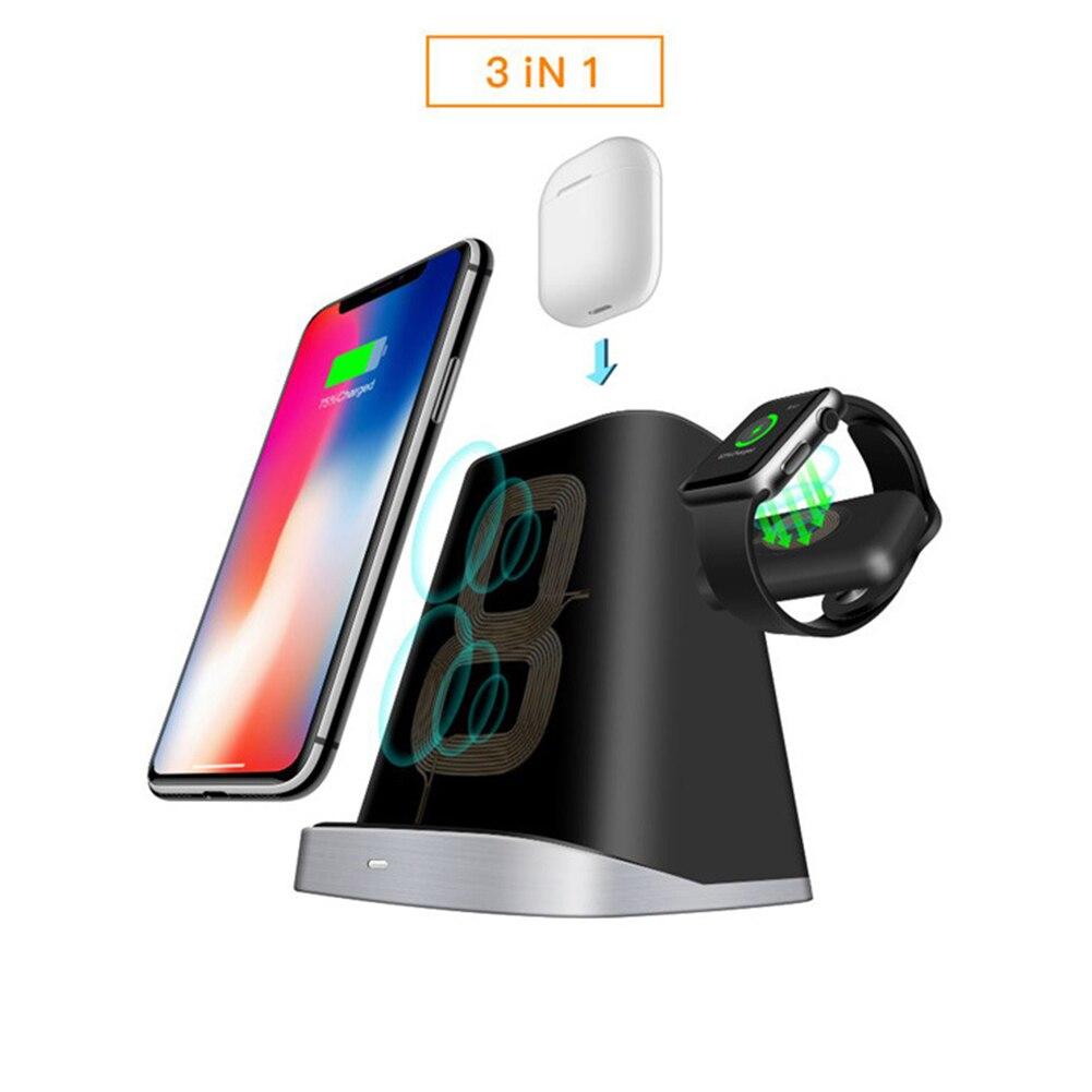 10 W QI support de chargeur sans fil pour iPhone XS X 8 Apple AirPods chargeur de Station de chargement pour Apple Watch Series 4 3 2 1