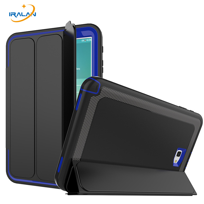 High Quality TPU+PC+PU Leather Case For Samsung Galaxy Tab A 10.1 2016 T580 T585 Safe Shockproof Armor Hybrid Cover+film+stylus metal ring holder combo phone bag luxury shockproof case for samsung galaxy note 8