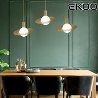 EKOO Nordic Minimalist Saturn Brass Glass Pendant lamps decoration for Dining Room Coffee Bar Restaurant Office Bed room Kitchen