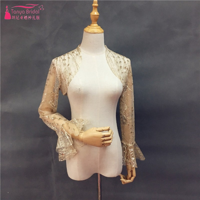 Real Photo Long Sleeves Lace Champagne Wedding Boleros Elegant Long Sleeves Gold Bridal Jackets For Bride In Stock DQG816