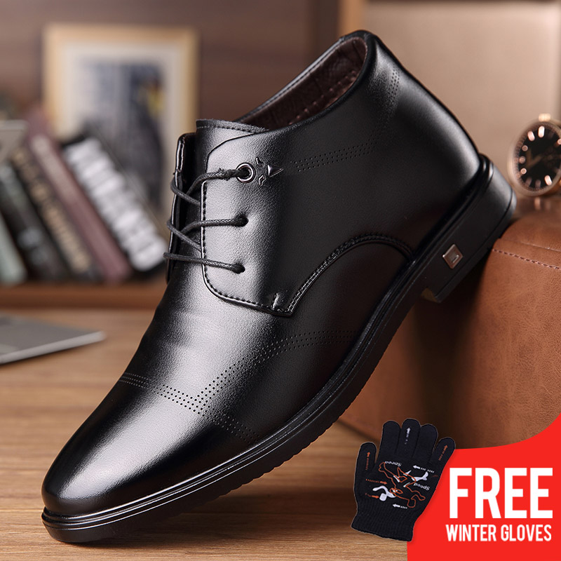 OSCO 2018 Winter Boots Warm Plush Leather Boots Lace Up Middle aged Business Dress Dad Shoes