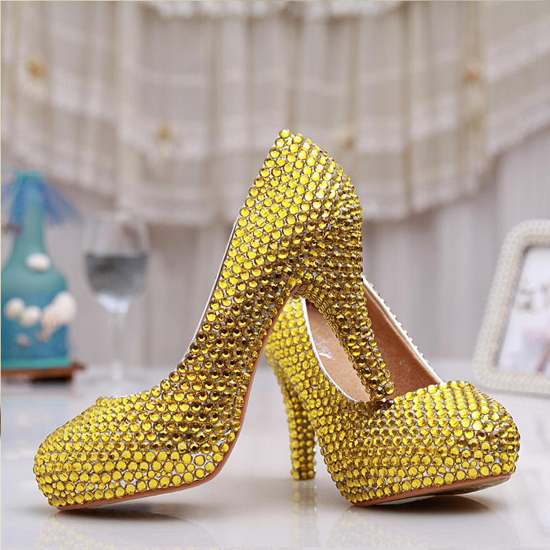Handmade Sexy Women Gold Rhinestone heels Platforms Bridal Wedding Shoes High Heel Gold Bridesmaid Shoes   Party Prom  pumps new arrival white wedding shoes pearl lace bridal bridesmaid shoes high heels shoes dance shoes women pumps free shipping party