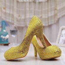 Handmade Sexy Women Gold Rhinestone heels Platforms Bridal Wedding Shoes High Heel Gold Bridesmaid Shoes   Party Prom  pumps