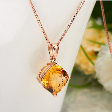 Elegant yellow topaz charm 18k rose gold crystal necklace for elegant yellow topaz charm 18k rose gold crystal necklace for party bijouterie aloadofball Image collections