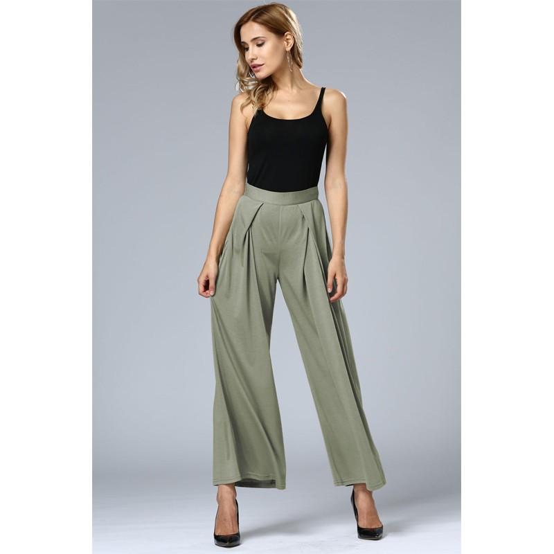 HTB1hlwdOFXXXXamXFXXq6xXFXXXu - Wide Leg Pants High Waist Long Pants Button Office Work Wear PTC 186