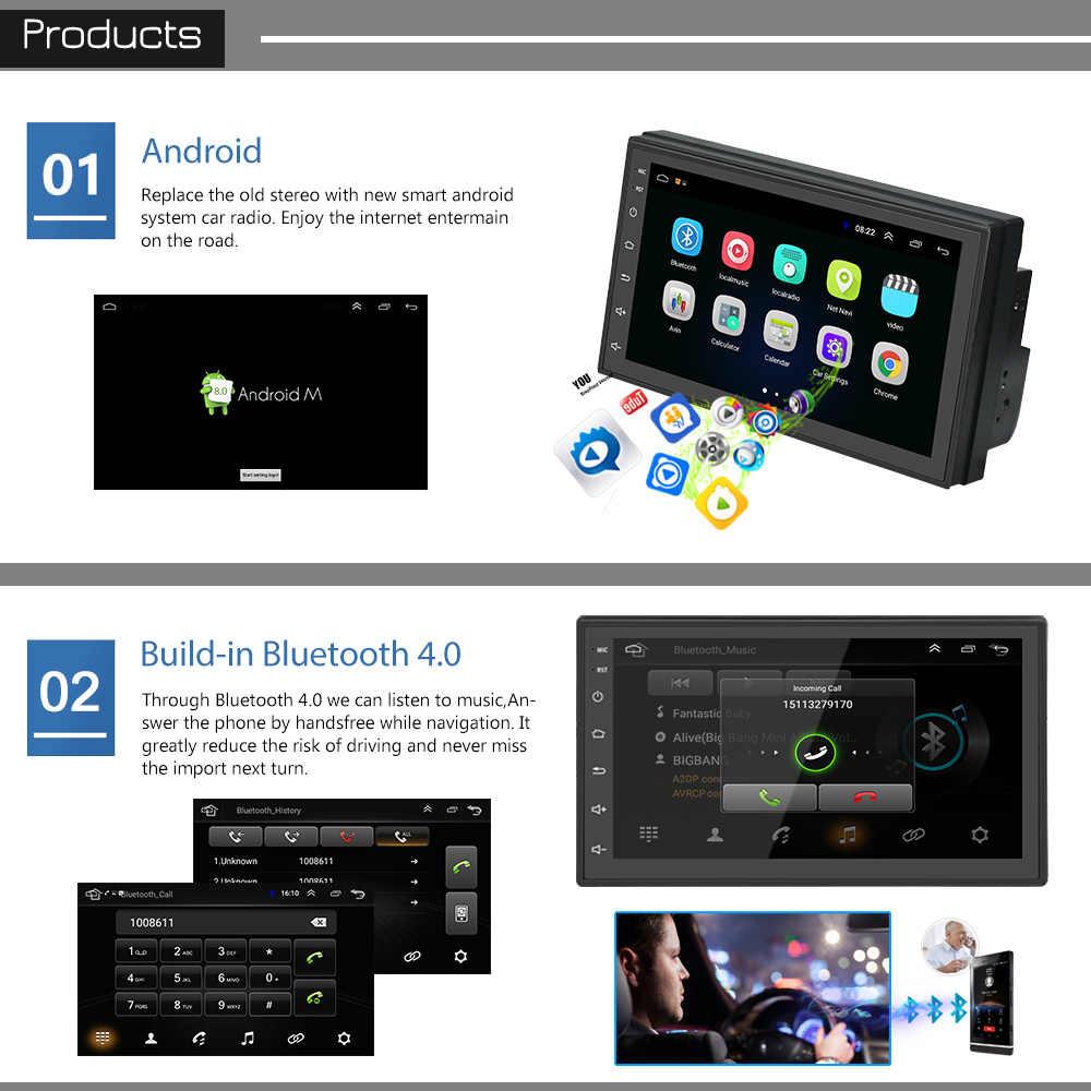 Podofo samochodów z systemem Android radio odtwarzacz multimedialny 2 Din 7 ''ekran dotykowy Autoradio Bluetooth FM WIFI AUX 2DIN GPS odtwarzacz audio Stereo