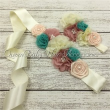 1set/lot Baby Headband Flower Sash Belt Chiffon Satin Mathcing