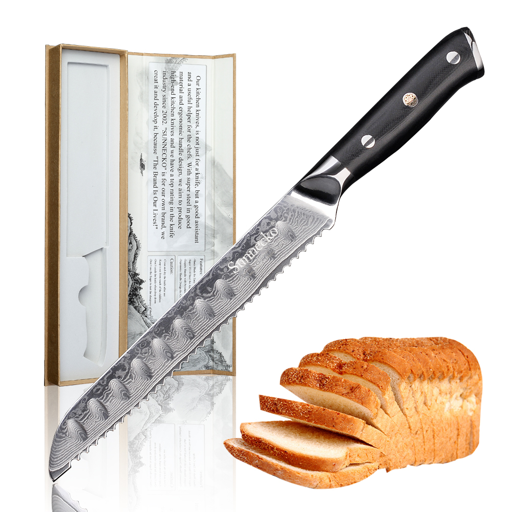 SUNNECKO 3PCS Chef Bread Utility Knife Kitchen Knives Set Japanese Damascus VG10 Steel Core G10 Handle Razor Sharp Cutting Tools-in Knife Sets from Home & Garden    3