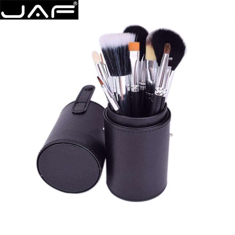 цена JAF 12pcs Makeup Brushes Set Foundation Brush Face Lip Eye Make Up Kit Cosmetic Tools with Zipper Leather Case Black