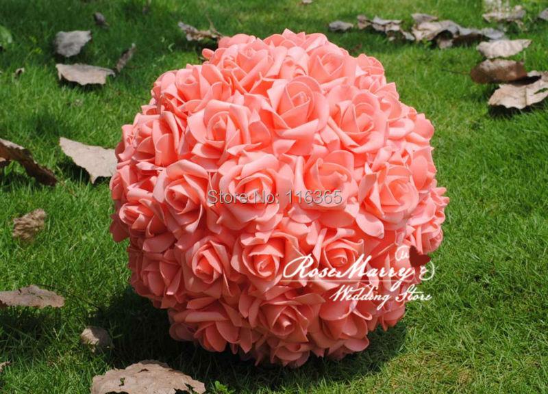 11 28cm Foam Kissing Rose Flower Ball Artificial