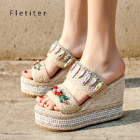 Fashion Flip Flops Women Crystal Slippers Wedges Beach Shoes Bling 11cm High Heels Platform Outdoor Espadrilles Ladies Fletiter