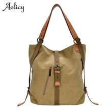 Aelicy New Canvas Messenger Bag women Handbags Famous Brand Vintage Bag Retro Vintage Messenger Bag Shoulder Bags for woman cheap Casual Tote Shoulder Handbags Polyester Single None Solid Hasp Hard Cell Phone Pocket Interior Compartment shoulder bags for woman 2018 canvas