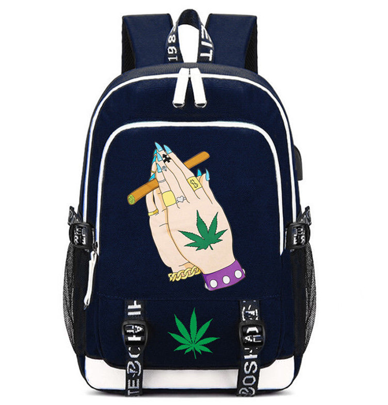 Oxford Cloth Backpacks with Cannabis Leaf and and Other Designs Backpacks New In