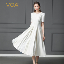 VOA Silk Dress Solid White Swing  Office & Casual Short Sleeve Party Long A170