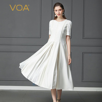Voa шёлковый платье одноцветное белое свободное офис и Повседневное короткий рукав Вечерние Длинное платье A170
