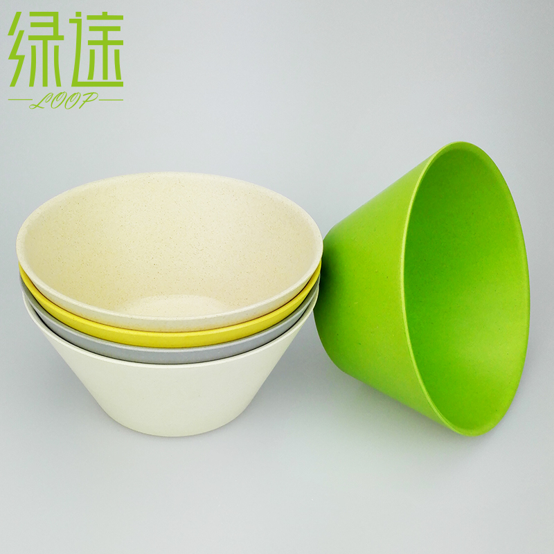 China Dishes And Plate Bamboo Powder Kitchen White Green Tableware Set  Reusable Dishes And Plate Soup Fruit Bowl Salad Bowls