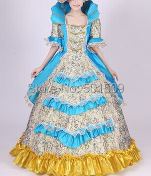 Free ship fan collar blue princess medieval dress Renaissance costume Victoria Antoinette/civil war/Colonial Belle Ball