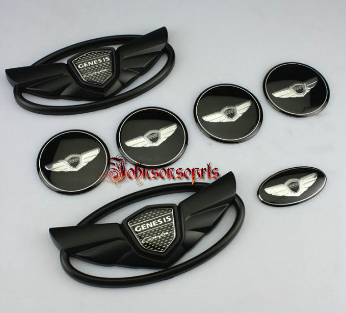 7PCS/set 3D Badge Emblems Front +Rear +Steering Wheels For 2010-2015 GENESIS COUPE Car Styling