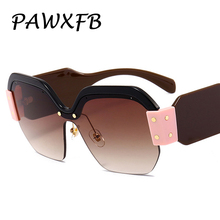 PAWXFB Hotselling Italy Brand Designer Oversized Square Sunglasses Women Retro Female Eyeglasses Oculos de sol SMU09S