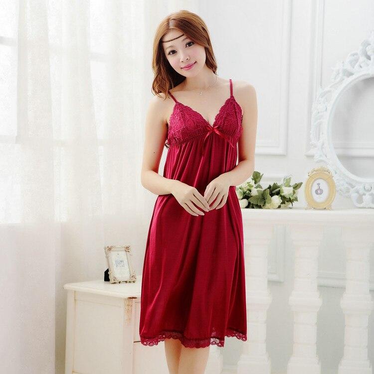Leiouna 2017 New Sleeveless Silk Women Sleepwear Strap Slim Waist Sexy Nightgown Loungewear Lace Nightwear Sexi Underwear