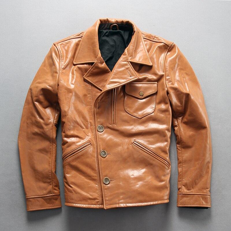 ¡A1810 Lea la descripción! Tamaño asiático calidad estupenda de los hombres abrigo de cuero de vaca genuino de vaca chaqueta de cuero