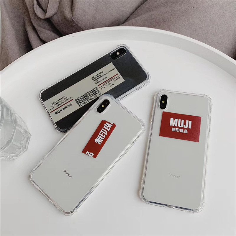 Japan MUJI personality phone case For iphone XS MAX XR X transparent soft shell fashion label 6 6s 7 8plus