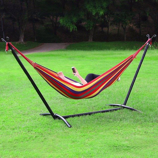 Hlc Portable Hammock For Camping Backpacking Hiking Woven Cotton