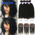 Peruvian Kinky Curly With Closure 4 Bundles Natural Color Kinky Hair Extensions 7A Peruvian Kinky Curly Virgin Hair With Closure
