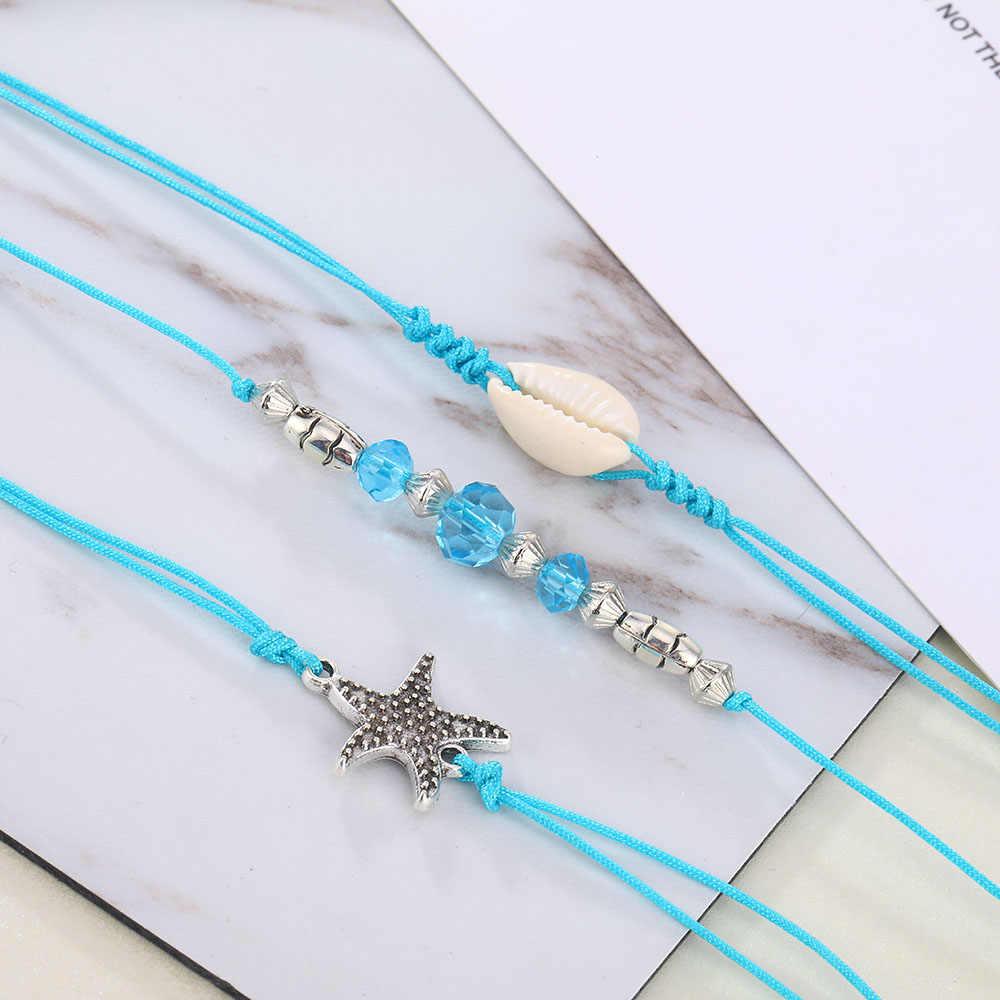 Moda 2019 Natural Shell obrączki dla kobiet artystyczne niebieskie kryształowe zroszony srebrny talizman rozgwiazda bransoletki na kostki zestaw biżuteria na stopy