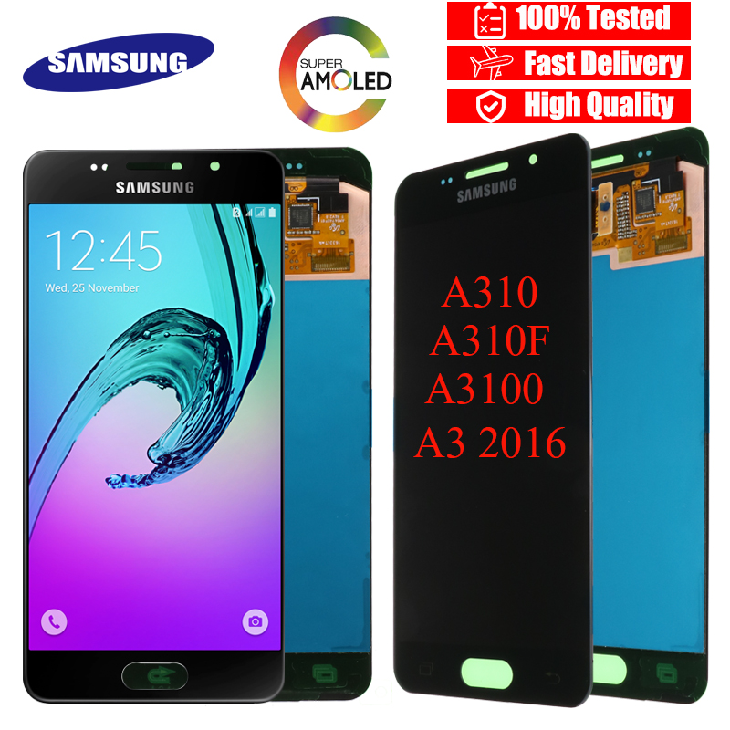 SUPER AMOLED 4 7 LCD For SAMSUNG Galaxy A3 2016 A310 A310F A3100 LCD Display Touch