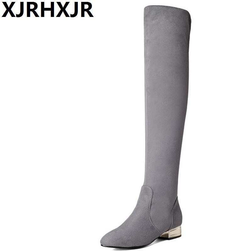 XJRHXJR Over-the-knee Boots Women Sheep Suede Leather Long Boots Low Heel Fashion Pointed Toe High Boots Ladies Winter Shoes basic editions women dark grey suede leather spike high heel chain accessories winter long boots 1105 1422 aj91