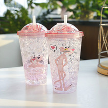 My Bottle Pink Panther Plastic Water Ice Straw Fashion Summer Cute Cartoon Of 2018 New GL25